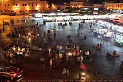 The square fills with dozens of food-stalls (T Ξ Ξ J Ξ) Tags: morocco marrakesh djemaaelfna d750 nikkor teeje nikon2470mmf28 street stalls store night