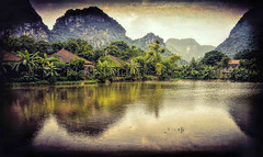 Hotel's Lake View with a Gritty Theme (Neville Wootton Photography) Tags: holidays karst lakescapes mangojouneys ninhbinh tamcoc tamcocgardenhotel topazlabs vietnam