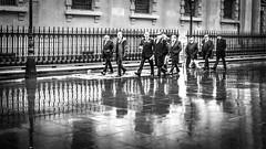 Reservoir (Old) Dogs (DobingDesign) Tags: london londonstreets blackandwhite streetphotography rainy wet reflections puddle gang group men people stmartinsinthefield trafalgarsquare walking water railings citylife wetpavement