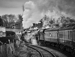 Heywood Lancashire 11th March 2017 (loose_grip_99) Tags: eastlancs railway railroad rail train heywood lancashire england uk steam engine locomotive doubleheaded lms stanier black5 460 45212 45407 blackwhite noiretblanc preservation transportation trains railways gala march 2017