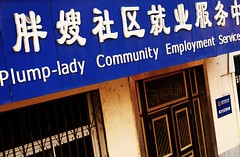 plump-lady community employment service (GraemeNicol) Tags: china ladies signs english community asia humorous employment chinese dalian surreal translation service chinglish hanzi plump humourous