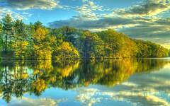 New England Sunrise (skycaptaintwo) Tags: trees lake reflection water sunrise canon pond 500v20f saveme2 deleteme10 massachusetts newengland 2006 dslr hdr 87points hdart