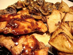 Chicken and Red Wine Sauce (girlychimp) Tags: red food chicken dinner mushrooms potatoes wine sauce porn roasted