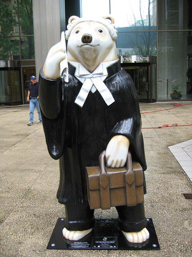 Statue of a bear dressed as a barrister