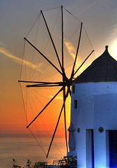 Sunset in Santorini (eugene) Tags: sunset windmill santorini greece hdr oia