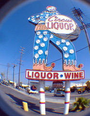 Circus Liquor (dogwelder) Tags: california june clown 2006 fisheye zurbulon6 peephole sanfernandovalley liquorstore fisheyelens northhollywood circusliquor zurbulon gatturphy