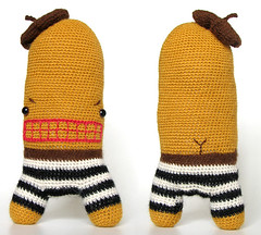 (sandra juto) Tags: pink brown white black alpaca animal yellow toy eyes handmade stripes crochet buttcrack softie angry plushie projects beret asscrack bumcrack