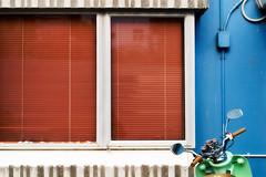 Vespa II (Völundur Jónsson) Tags: blue windows urban building wall concrete italian vespa cords cables wellington motorcycle blinds residency