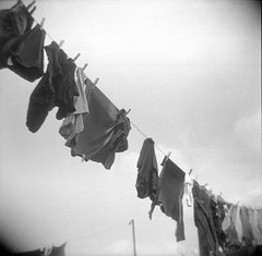 Washing (andyaldridge) Tags: sky blackandwhite london 120 film home mediumformat holga toycamera clothes squareformat clothesline pegs neopan400 washing hanwell w7
