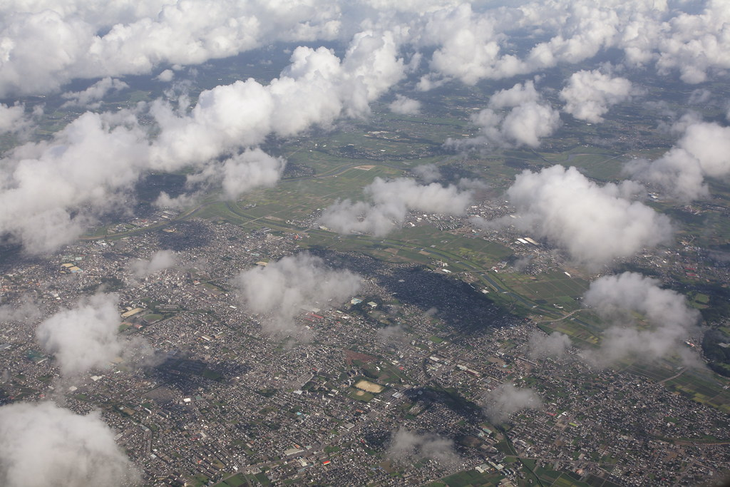 Miyakonojo city from airplane