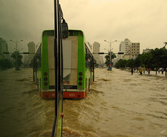 Floods, Buses & Reflections (Life in AsiaNZ) Tags: china city reflection green water buses rain tag3 taggedout canon asia tag2 tag1 south chinese powershot southern   heavy floods nanning   guangxi         lifeinnanning  flickrgiants