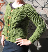 Green Cable Cardigan by LollyKnit.
