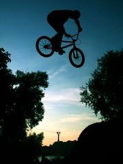 Biker over Rheinseilbahn