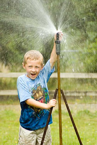 Alex in the Sprinkler