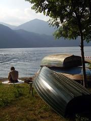 Deutsch im Orta (berberenike is coming back) Tags: italy sun lake lago boat peace nirvana 2006 tourist piemonte mind meditation sunbathing orta
