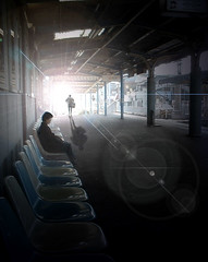 Takidani Train Station 5 (re-do) (Mr.  Mark) Tags: light shadow woman man station silhouette japan train interesting mac perfect waiting graphic saveme2 deleteme10 perspective dream surreal 600 lensflare lookatme 300 500 topf100 topf500 takidani markboucher world100f alarecherchedutempperdu