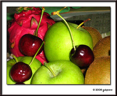 fruits anyone? (Lady_Guinevere) Tags: red brown green apple fruits interestingness dragon kiwi
