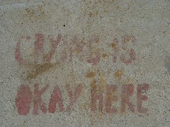 Sidewalk Stencil: Crying is OK here (Franco Folini) Tags: sf sanfrancisco california ca usa streetart valencia photography graffiti us stencil foto arte pavement sony crying urbanart sidewalk mission missiondistrict valenciastreet cry fotografia sidewalkart trottoir marciapiede valenciast dscf707 piangere francofolini folini