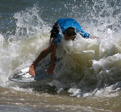 skim 021 (salnunzio) Tags: ocean blue summer beach wet water sand surf ride contest wave spray 300mm delaware dewey splash sec 14000 deweybeach blueandwhite skim skimboard skimming salnunzio