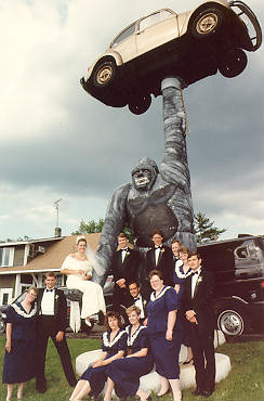 ape, VW and bride