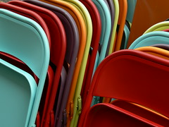 Chaises ranges (manuel | MC) Tags: blue red 15fav orange colors yellow 1025fav jaune rouge nice rainbow topf50 chairs lyon topc75 123 2006 100v10f bleu topv777 chaises aout 1000views abigfave 5for2 score1to3on29