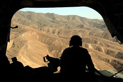 A Chinook gunner's view of some mountains in Afghanistan (violinsoldier) Tags: afghanistan soldier army war peace muslim islam helicopter terror terrorism chinook gunner islamic