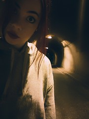 Tunnel vision. (fresifantastica) Tags: creepy places selfportrait girl tunnel terror bigeyes abandoned cooltones