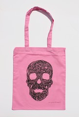Swirly Skull Tote (rose pink) (Wayne Chisnall) Tags: pink blue red orange green yellow skulls skeleton grey screenprint lilac cotton bones forgetmenot bags tote shopper totes deathshead totebags shoppingbags tattoodesign screenprints artprints tattoodesigns sull deathhead screnprint cottonshoppingbags cottontotes artbags skulldesign cottonshoppingbag skulldesigns shopperbags skeletondesign artistsscreenprints colouredtotes skeletondesigns artistsbags greygreenlilac artshoppingbags