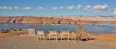 LET THE SHOW BEGIN (Irene2727) Tags: mountains color nature water clouds landscape utah chairs lakepowell bullfrogbay coth5