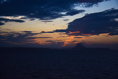 Red clouds sunset. (xTreMovies) Tags: voyage trip travel blue sunset red sea summer mer france clouds de vacances soleil boat back spain eau over return nuages ete couch hollidays retour