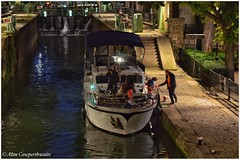 Through the locks at night (alcowp) Tags: paris france water night boat canal lock bateau fra ecluse