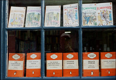 Reflection sandwich, Hay-on-Wye (alanhitchcock49) Tags: windows reflection shop penguin surreal books pg september 13 hayonwye wodehouse powys 2015