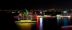 Opera Lights (The.loud.shadow) Tags: ocean longexposure travel bridge water night boats opera sydney vivid australia operahouse