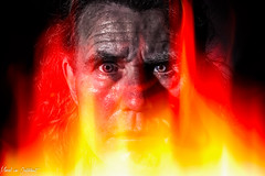Tony 10 (M van Oosterhout) Tags: portrait people man holland male men netherlands face fire eyes flames angry