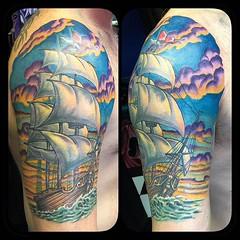 Ship tattoo in progress, 3 hours on background today #shiptattoo #ship #nauticaltattoo #pooch #sidecranker #nickshandmaderotary
