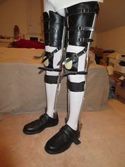 Front Angled Pic of the KAFO Leg Braces (KAFOmaker) Tags: brace braces braced bracing afo kafo leather metal orthopedic caliper calipers orthese orthotic orthosis orthoses orthosen fetish bound bondage restraint restraints restrain restraining