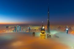 Planet Dubai (subodh shetty) Tags: dubai mydubai burjkhalifa downtown fog sunrise bluehour nikon tamron
