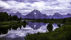 Mount Moran Above Oxbow Bend (woodchuckiam) Tags: mountmoran oxbowbend grandtetonnationalpark wyoming mountain water sky clouds grass brush trees snow reflection scenic landscape woodchuckiam