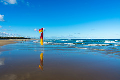 Flag Reflections (Scottmh) Tags: 2017 australia nikon beach coolum d7100 life queensland savers summer sun surf water waves