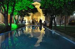 Persian poet Hafez Tomb in Shiraz (Lucky Luke Guide) Tags: hafez shiraz iran tomb fountain reflection tree green