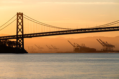 Dawn Cranes (Cal Holman) Tags: sanfranciscobay pier7 shippingcranes cranes shipping bridge oaklandbaybridge baybridge sunset water sanfrancisco casanfranciscocaliforniaunitedstatesus