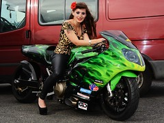 Holly NF 179 (Fast an' Bulbous) Tags: kawasaki turbo superstreet bike motorcycle biker chick babe girl woman hot hotty sexy people outdoor dragbike long brunette hair tight leather pvc leggings jeans trousers high heels stilettos shoes leopard print santapod nikon d7100 gimp pinup model beauty
