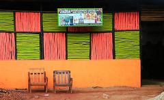 Come for joy (Pi-F) Tags: entertainment divertissement fauteuil devanture bar billard joie plaisir terrasse deux afrique ouganda couleur carré pooltable joy vert rose entrée jaune ocre armchair color green pink coffeeterrace square pleasure ocher