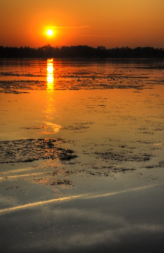 Sunset behind Ormož lake (river Drava, actully)