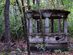 """Hartford """"Castle"""" in Woods (Wits End Photography) Tags: wood old autumn plant tree fall abandoned nature colors leaves architecture america forest season concrete outside leaf illinois ancient woods ruins midwest alone exterior outdoor decay neglected cement ruin gazebo structure pale well foliage faded forgotten american worn vegetation lone weathered crumble discarded forsaken left solitary rejected hartford bleached faint outcast washedout eroded dumped castaside discolored"""