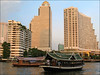 Sunset Shuttles (suavehouse113) Tags: urban ferry skyline architecture buildings river thailand boats cityscape bangkok lateafternoon philscamera chaophrayariver statetower