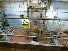 DROP (helenoftheways) Tags: wood uk london abbey museum danger warning pipes steps drop machinery crossnesspumpingstation