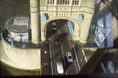 Tower Bridge glass floor (The Old Pharaoh) Tags: bridge england london film glass architecture towerbridge river arch unitedkingdom voigtlander slide transparency analogue riverthames glassfloor reversalfilm analoguephotography