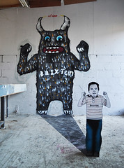 Temper tantrum (id-iom) Tags: street uk boy shadow urban streetart london art face monster wall graffiti kid cool eyes stencil toddler paint head arts spray angry vandalism horror spraypaint nightmare brixton grrrr perspex idiom aerosolpaint