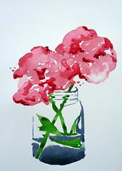 Flowers in vase, by Raquel - DSC01467 (Dona Mincia) Tags: pink stilllife flower art glass beauty vidro watercolor painting paper arte flor rosa study jar vase beleza pintura belo frasco aquarela jarro naturezamorta